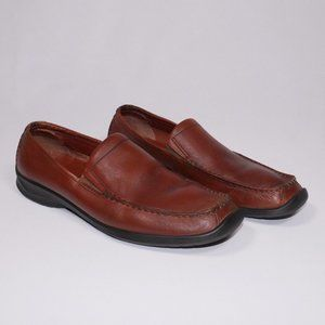 Men's Brown Leather Ecco Loafers Size EU 42 US 9